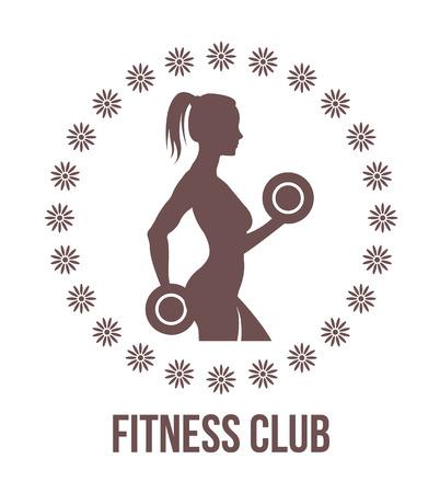 klubok: Fitness logo a nő silhouette.Woman tartja súlyzókkal.