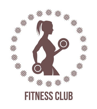 Fitness logo with woman silhouette.Woman holds dumbbells. Vector