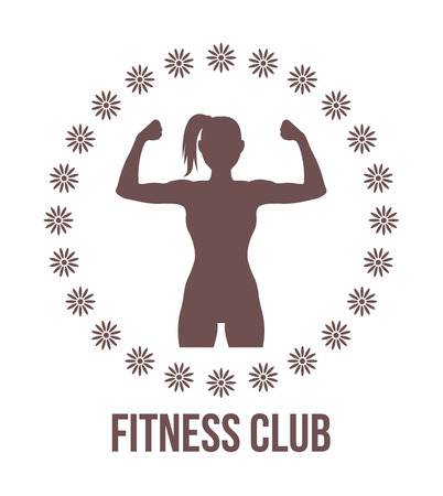 muscle: Centro de fitness logotipo con la silueta de mujer