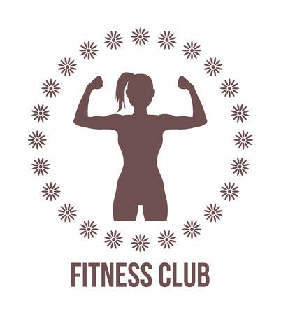 feminino: Logotipo do clube de fitness com silhueta da mulher Ilustração