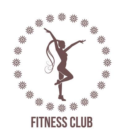 health club: Fitness club emblem with woman silhouette Illustration