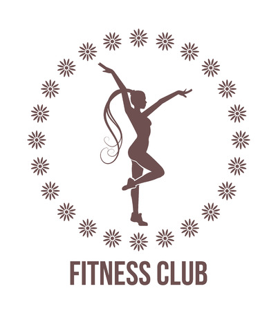 Fitness club emblem with woman silhouette Illustration
