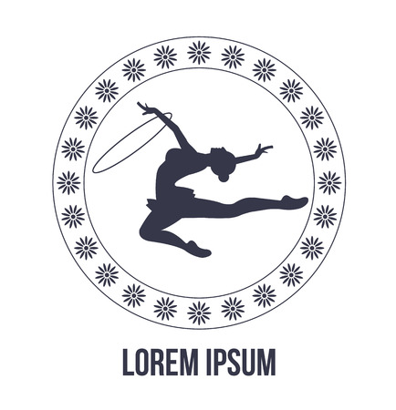 acrobat gymnast: Rhythmic gymnastics icon with woman silhouette Illustration