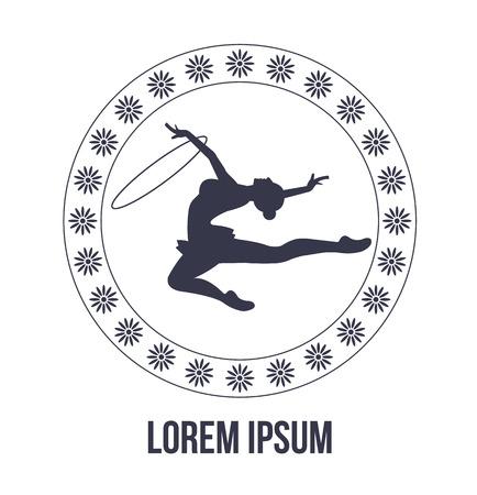 gymnastik: Rhythmische Gymnastik-Symbol mit Frau Silhouette Illustration