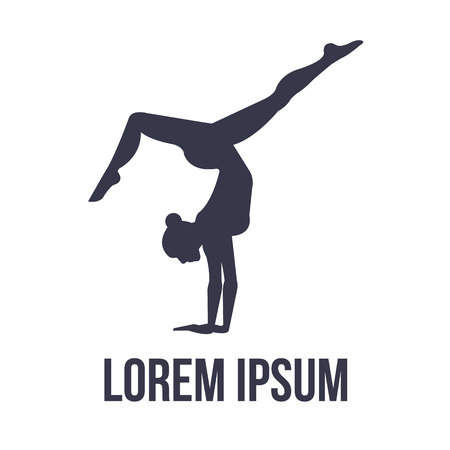 gymnastics sports: Acrobatic gymnastics icon with woman silhouette