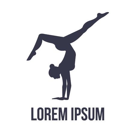 gymnastique: Gymnastique Acrobatique ic�ne avec femme silhouette