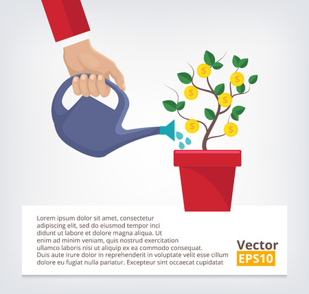 business finance: Human hand with can watering money tree Illustration