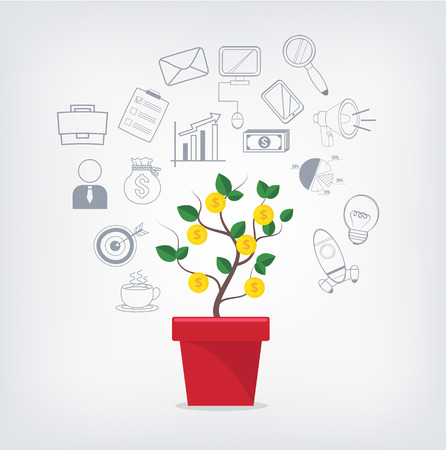 Branch offices diagram stock photos royalty free branch offices money tree in red pot and business icons set ccuart Image collections