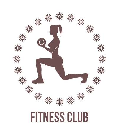 Fitness club logo with woman silhouette.Woman holds dumbbells