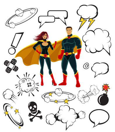 Superheroes and cartoon speech bubbles and design elements Vector