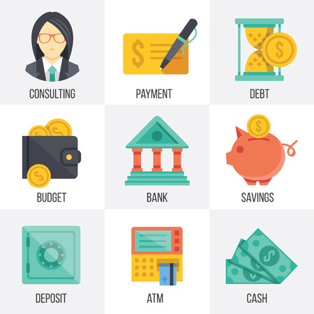 Vector banking and finance icons set. Set 3