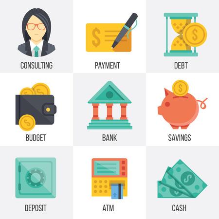 banco dinero: Vector banca y finanzas iconos conjunto. Set 3