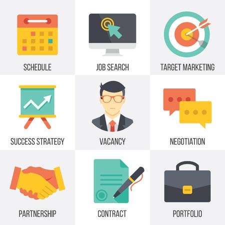entrevista de trabajo: Iconos de negocios conjunto de vectores. Set 1 Vectores