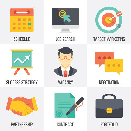 job hunting: Vector business icons set. Set 1