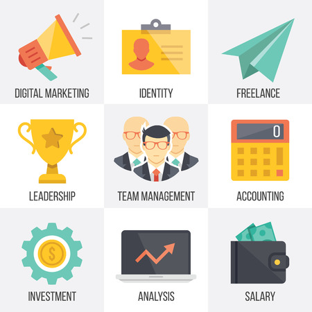 accounting design: Vector business and marketing icons set. Set 2