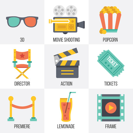 action movie: Vector cinema icons set. Set 12 Illustration