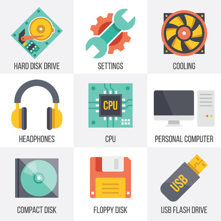 hard disk: Vector computer hardware and technology icons set.  Set 10 Illustration