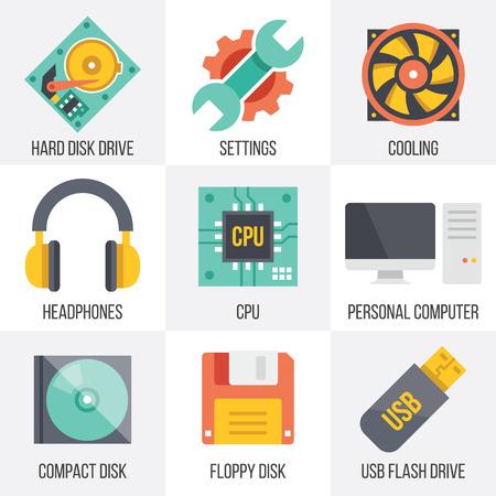 icono computadora: Vector de hardware y tecnolog�a de la computaci�n iconos conjunto. Set 10