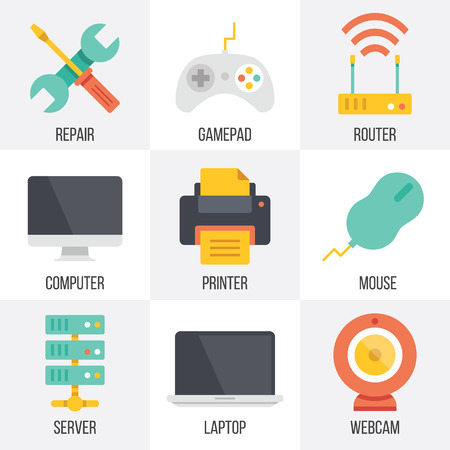 joystick: Vector computer hardware and technology icons set. Set 9 Illustration
