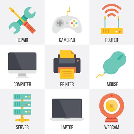 icono computadora: Vector de hardware y tecnolog�a de la computaci�n iconos conjunto. Set 9 Vectores