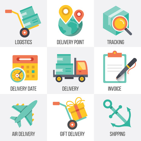 INVOICE: Vector delivery and logistics icons set. Set 8