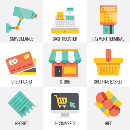 web store: Vector retail and ecommerce icons set.  Set 6 Illustration