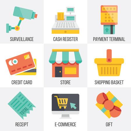 Vector retail en e-commerce iconen set. Set 6