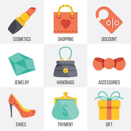 ecommerce: Vector women shopping icons set. Set 7 Illustration