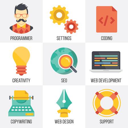 content: Vector web development, seo, and web design icons set. Set 4