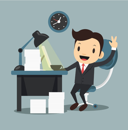 Happy office worker shows ok sign