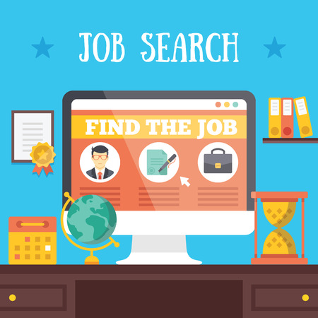work on computer: Job search illustration Illustration