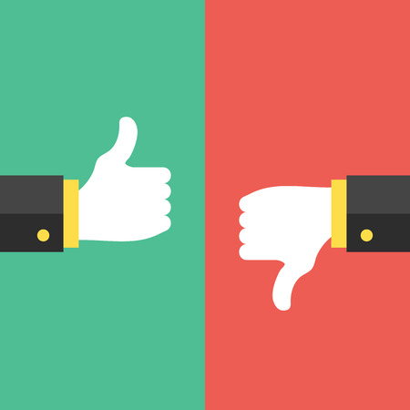 Thumbs up and thumbs down hand sign Vector