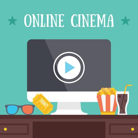 streaming: Online cinema. Media content internet streaming concept. Illustration