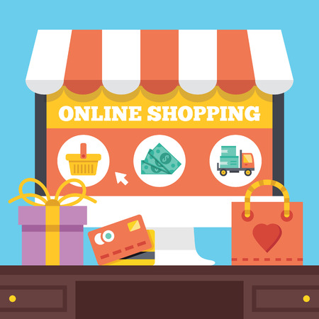 Online shopping. Electronic retail concept. Stock Illustratie