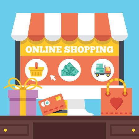 Online winkelen. Elektronisch winkelconcept. Stock Illustratie