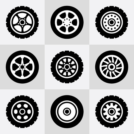 Tires and wheels icons set. Vector