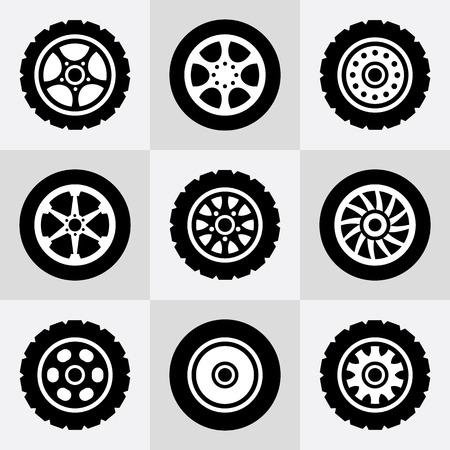 Ustawić opony i felgi ikony. Ilustracje wektorowe