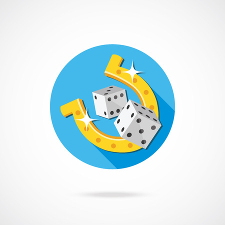 luckiness: Dice and horseshoe icon. Vector Illustration. Illustration