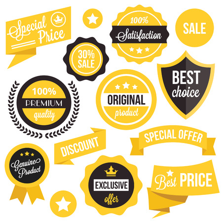 yellow design element: Badges, stickers, ribbons and insignias set
