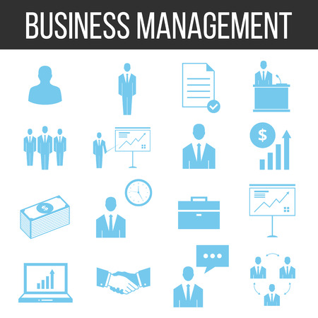 Business management and human resources icons set