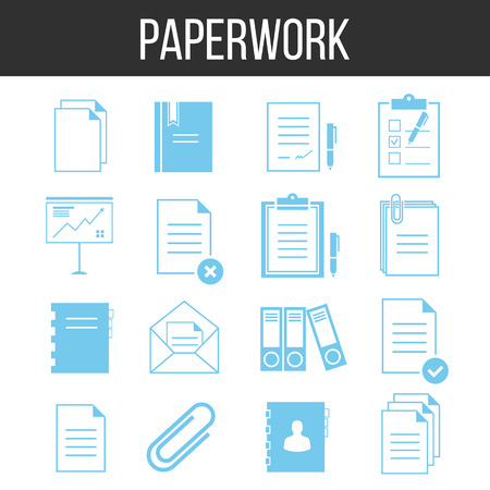 archiving: Paperwork and documents icons set
