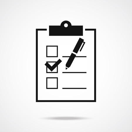 checklist: Clipboard form with pen and checklist icon