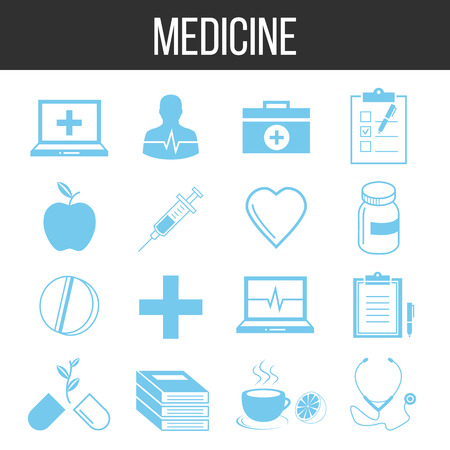 medicate: Medicine and healthcare icons set Illustration