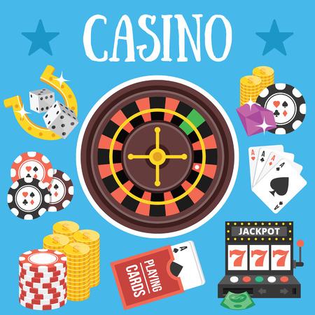 maquinas tragamonedas: Casino. Dise�o plano ilustraci�n vectorial