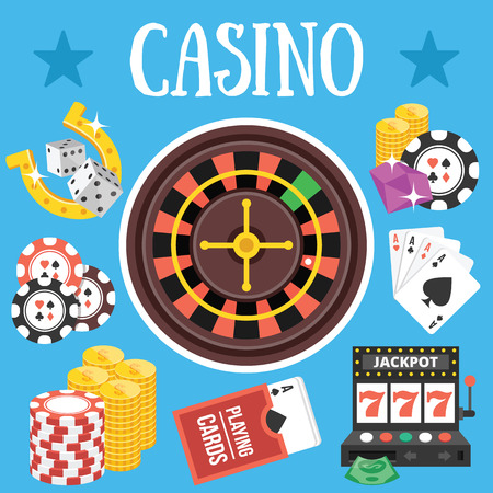 casino machine: Casino. Flat design vector illustration