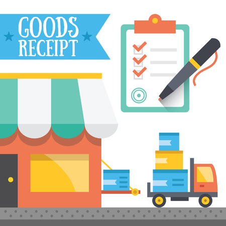 receipt: Goods receipt concept. Vector illustration.
