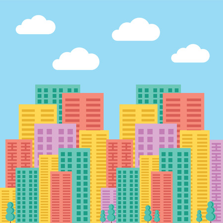 Big city concept. Colorful skyscrapers and buildings
