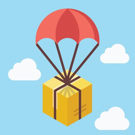brown box: Concetto di consegna. Scatola marrone che galleggia in cielo blu con paracadute