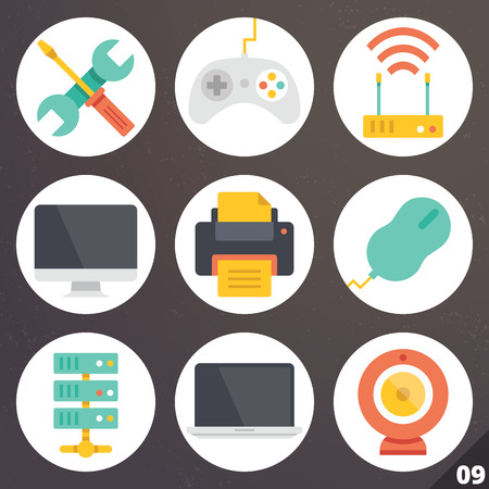 repair computer: Colorful vector icons for web and mobile applications. Set 9