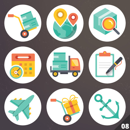 Colorful vector icons for web and mobile applications. Set 8 Illustration